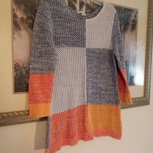 100% Cotton Color Block Sweater sz L